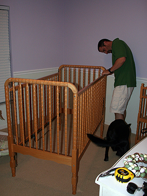 jeff, crib in room for first time